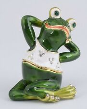 Frog in yoga Trinket box  by Keren Kopal Austrian Crystal Jewelry box Faberge
