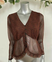 Wednesdays Girl Top In Ditsy Animal Print Brown Frill Hem Size XS 8 & M 12 NEW