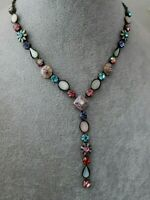 Multi Coloured Rhinestone Enamel Flower Pendant Necklace Costume Jewelery 48cm