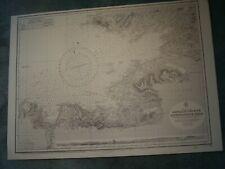 Vintage Admiralty Chart 2440 IRELAND - RATHLIN OBIRNE to DOWNPATRICK HD 1872 edn