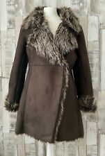 Denim Co Brown Faux Suede Fur Lined Coat Shearling Jacket Size 10