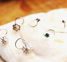 Nasenpiercing Silber orig. indisch Spirale dünn, Grün Weinrot Blume Sonne Kugel