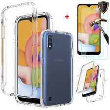 For Samsung Galaxy A01 A11 Case Shockproof Clear Hybrid TPU Cover+Tempered Glass