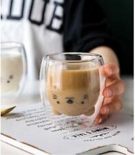 Christmas Gift Creative Cute Bear Double-layer Coffee Mug Double Glass Cup
