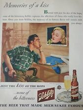 1944 Schlitz Beer Memories Man Sitting By Blueprints Original Print Ad