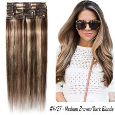 Clip in THICK 100% Human Remy Hair Extensions Full Head Straight 8-22inch P765