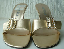 Carvela Gold Leather Party Shoes Heels Diamante Crystal Buckles 3 EU 36 BNIB