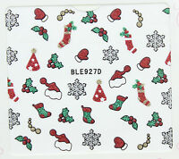 Christmas Silver Glitter Snowflakes Hats Gloves Holly Ivy 3D Nail Art Stickers