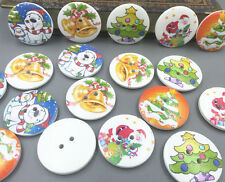 20pcs Mixed Christmas Wooden Big Buttons 2 Holes Fit Sewing Scrapbooking 30mm