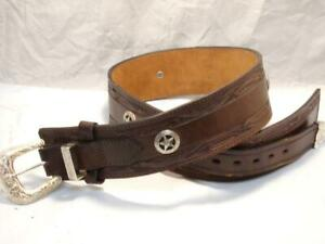 "KIRKPATRICK Leather Size 36-38"" Western Fancy Rig Hand Tooled Gun Holster Belt"