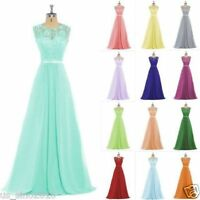 Long Lace Evening Formal Party Ball Gown Prom Bridesmaid Dress Plus Size UK6-30