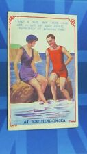 WW1 SOUTHEND ON SEA Comic Postcard 1916 Bathing Beauty SEE A LOT OF EACH OTHER