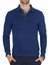 NEW MENS NAUTICA WINDWARD LONG SLEEVE BLUE CLASSIC FIT FRENCH RIBBED POLO L $79