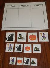 Halloween Holiday Size Sorting laminated preschool child homeschool game.