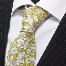 Tie Cravatta SLIM VERDE OLIVA CON Bianco & Blu Floreale Cotone di alta qualità T6013