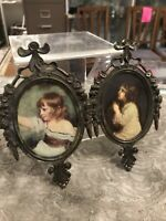 Vintage Pair Italian Brass Ornate Picture Photo Frames