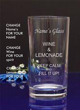 Personalised Engraved Hi ball Tumbler mixer spirit WINE AND LEMONADE glass 65
