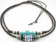 Adjustable Tribal Hemp Leather Turquoise Beads Beaded Necklace Choker Men Womens