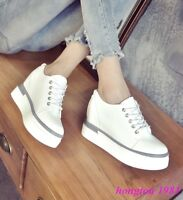 Fashion Womens Lace Up Platform Wedge Hidden Heels Creepers Shoes Sneakers Solid