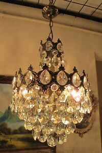 Antique Vintage.French Basket Style Crystal Chandelier Lamp Light Lüster 1940's.