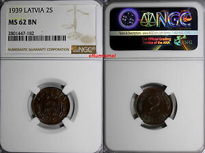 Latvia Bronze 1939 2 Santimi NGC MS62 BN 1 YEAR TYPE KM# 11.2