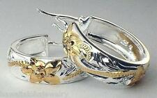 19mm Hawaiian 2-Tone Silver 14k Yellow Gold Princess Scrolls Round Hoop Earrings