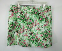 St Johns Bay Skorts Womens Sz 16 Polar Lime Floral Stretch Shorts Skirt NWT