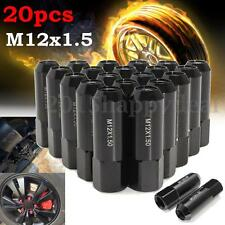 20Pcs/Set Aluminum M12X1.5 60mm Extended Tuner Racing Lug Nuts Wheels Rims Black