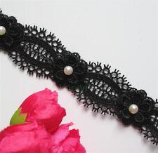 1yd 3cm Vintage Flower Pearl Lace Edge Trim Wedding Ribbon Applique Sewing Craft