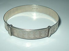 RARE VINTAGE LONDON HALLMARKED 1975 SILVER BANGLE + maker's mark weighs 14 grams