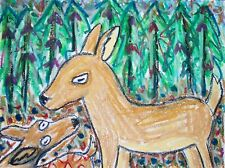 Deer in the Forest Pop Folk Art Print 8 x 10 Farm Countryside Collectible Signed