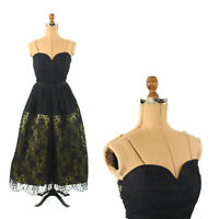 Vintage 50s Bonwit Teller Navy Sheer Floral Lace Sweetheart Party Prom Dress XS
