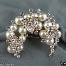 14k Gold GF pearls with Swarovski crystals elegant solid brooch pin