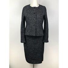 Ann Taylor Women's Blazer Skirt Set Size 12 / 14 Black White Wool Blend Pencil
