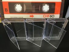 3 x AUDIO MUSIC CASSETTE TAPE CASES / EMPTY CASES  CLEAR TRANSPARENT QTY 3  NEW