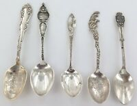 . 5 x ANTIQUE / VINTAGE USA CANADA STERLING SILVER COLLECTOR TEASPOONS.