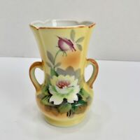 Antique/Vintage Goldcastle Yellow Handpainted Floral 2-Handled Vase Japan