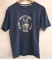 Men's Round Neck Navy T-Shirt Size M O Club <NH5149z