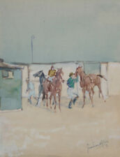 Gerard Van Wyland - Horses at the Derby - Watercolor on Paper