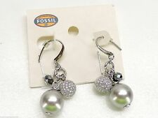 Fossil Bead Drop Earrings $58 Crystals Silvertone Grey Faux Pearl New! NWT