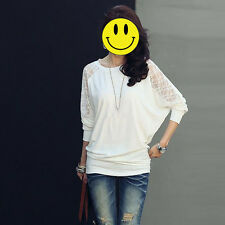 Women's Long Sleeve Casual Dolman Lace Loose T-Shirt Batwing Sleeve Blouse Tops