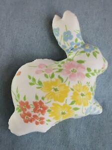 "Floral Vintage Fabric Stuffed Bunny 8"" long Handmade Easter Basket Farmhouse"