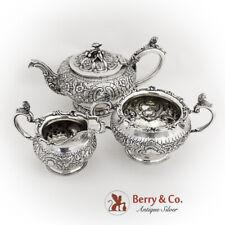 Antique Repousse Ornate 3 Piece Tea Set Figural Decorations 925 Silver London