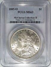 1885 O Silver Morgan Dollar PCGS MS 63 McClaren Hoard Collection II Pedigree