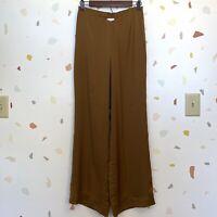 Soft Surroundings Medium Golden Brown Satin Feel Wide Leg High Rise Waist Pants