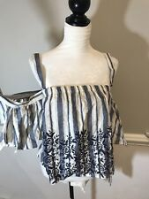 Charlotte Russe Size M Embroidered Could Shoulder Top Striped Blue White