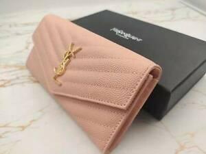 Yves Saint laurent,Ladies The wallet 19*10*3cm, pink,Authentic, new, box