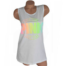 VICTORIA'S SECRET PINK TANK TOP TSHIRT BRIGH COLORS GRAPHIC LOVE PINK TEE S