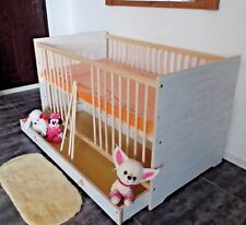 Babybett Kinderbett Gitterbett Matratze 140x70 Komplett Umbau Set weiß rosa