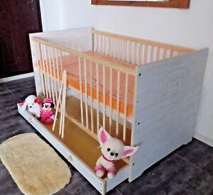 Babybett Kinderbett Gitterbett 70x140 Komplett Set Matratze Schublade weiß rosa